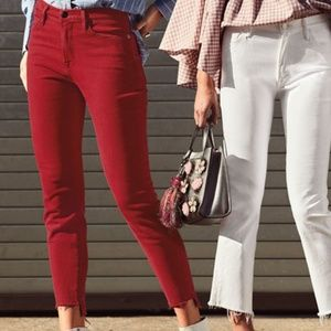 Frame Red Le High Skinny Jeans w Raw Stagger Hem